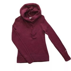 Columbia Pullover Cowl Neck Sweater Sz XS Burgundy